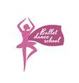 Ballet dance school logo template ballerina vector
