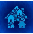 Blue home symbol on dark blue background vector