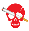 Skull danger with cigarette for world no tobacco vector