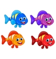 Cute fish cartoon collection set vector