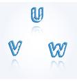 Sketch jagged alphabet letters u v w vector