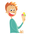 Boy eating an ice cream vector
