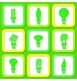 Set of 9 green icons of energy saving lamps vector