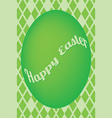 Green easter egg card on green diamond pattern vector