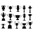 Black champion cup icon vector