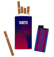 Pack of cigarettes with a lighter vector