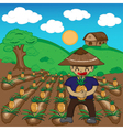 Farmer and pineapple a harvest cartoon vector