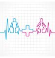 Heartbeat make malefemale and medical symbol vector