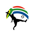 Soccer football player ball flag south africa vector
