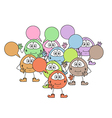 Color cute creatures with speak bubble vector