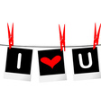 I love you concept with photo frames hanging on vector