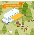 Family isometric forest camping vector