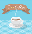 Coffee cup with ribbon and inscription vector