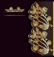 Ornate vintage dark background with golden lace vector