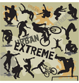 Set extreme urban sports silhouettes vector