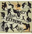 Set extreme urban sports silhouettes vector