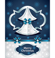 Christmas tree from paper with bow ribbon snowflak vector