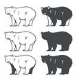 Set of six bear silhouette vector