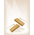 Two musical wood block on brown stage background vector