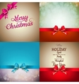 Christmas decoration set - ribbon bow with bokeh vector