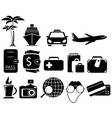 Set black travel objects vector