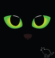 Cat eye in green color with black cat vector
