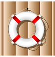 Hanging marine buoy over wood wall background vector
