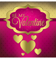 Valentines day hanging heart card in format vector