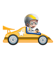 A girl in her yellow racing car vector