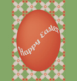 Red egg easter card on flower dot pattern vector