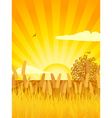 Sunset cultivated landscape with corn tree and cul vector
