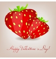Happy valentines day card with strawberry heart vector
