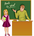 Teacher at blackboard in classroom with girl vector