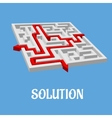 Labyrinth puzzle with two solutions vector