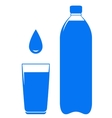Water bottle glass and drop vector