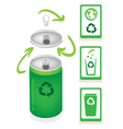 Aluminum can with recycle symbol and trash can vector