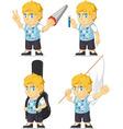 Blonde rich boy customizable mascot 7 vector