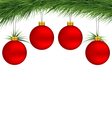 Red christmas balls on pine branch vector