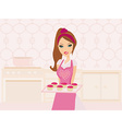 Housewife cooking muffins in the kitchen vector