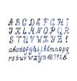Blue watercolor alphabet hand drawn artistic font vector