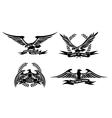Eagle heraldic labels with laurel wreaths shields vector