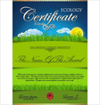 Ecology certificate template vector