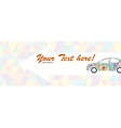 Indicating banner with the car of multicolored vector
