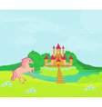 Fairytale landscape with magic castle and pink vector