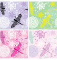 Set of four floral seamless patterns with flowers vector