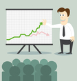 Business man with chart presentation to people vector