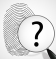 Magnifying glass with a question mark and vector