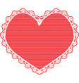 Heart shape lace doily white on red background vector