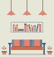 Flat design interior vintage sofa and bookshelf vector