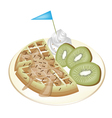 Tradition waffle with kiwi and whipped cream vector